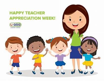 Teacher Week Cartoon Students Teachers Gro Learning