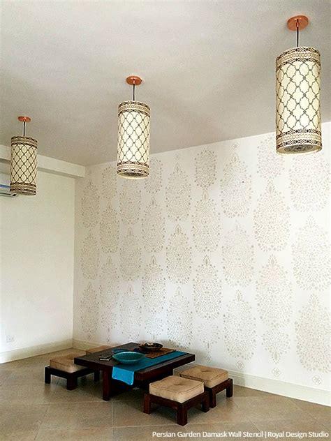 diy tutorial persian garden wall stencil   india