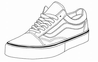 Vans Shoe Shoes Coloring Drawing Pages Skool