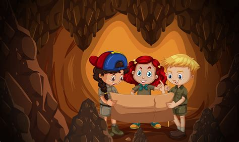 group  children reading cave map