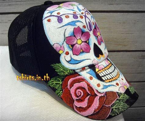 handmade skull tattoo hat painted hand painting baseball