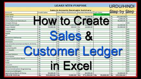 create sales  customer ledger  excel urdu