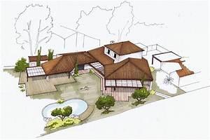 architecte aubagne renovation extension d39une maison With croquis d une maison 12 dessin de jardin en perspective le jardin de bastian