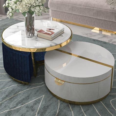 Marble top is a natural white and has sealer as top coat. Black/White Nesting Coffee Table with Ottomans Faux Marble Coffee Table with Stool Round Wood ...