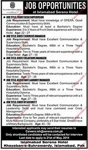 Security Guard Services Contract Serena Hotel Islamabad Requried Staff 2019 Serena Hotel