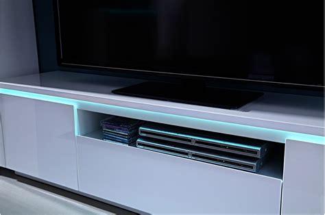 meuble tv laque blanc led meuble tv moderne blanc laqu 233 180 cm 224 led lumineux trendymobilier