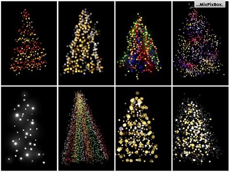 christmas trees lights overlays design cuts