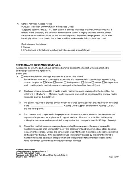 Shared Parenting Plan Template Shared Parenting Plan Free