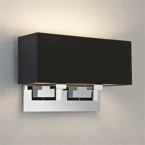 large chrome wall light black fabric shade ideal for hotel lighting