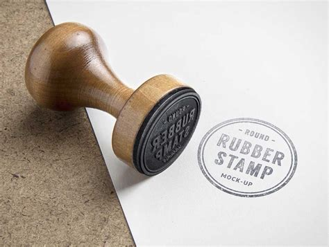 wooden rubber ink stamp psd mockup psd mockups