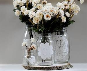Things, Brides, Love, Mason, Jar, Wedding, Reception, Decor, Centerpieces, Doily, Adorned