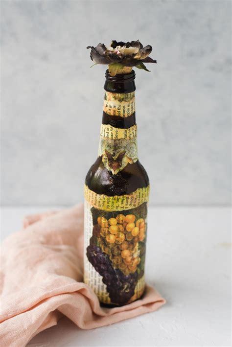 beer bottle napkin decoupage technique favecraftscom