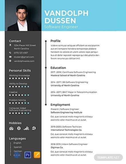 resume  experienced software engineer template