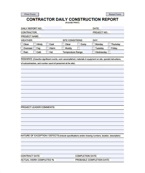 Construction Subcontractor Daily Report Template by Daily Report 7 Free Pdf Doc Download