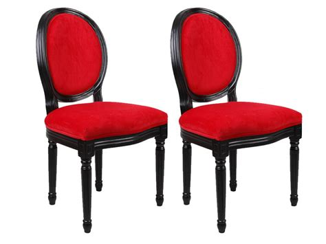 vente unique canapé chaises louis xvi tissu effet velours 3 coloris