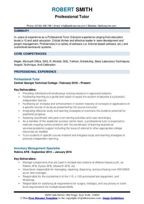 professional tutor resume samples qwikresume