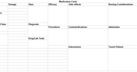 drug card template nursing school graduation