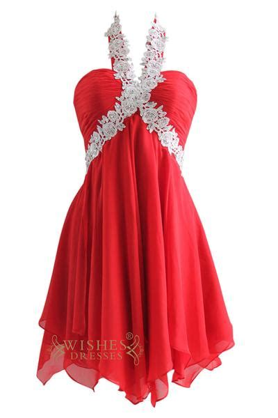 lace halter red chiffon short prom dress