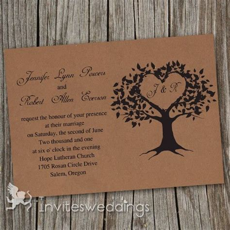 cheap vintage brown love tree wedding invitations iwi