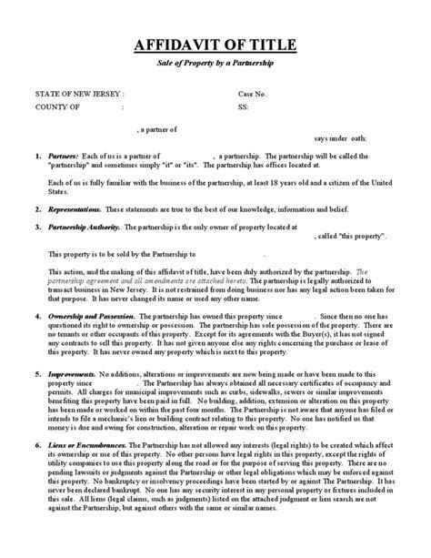 affidavit  title sale  property   partnership