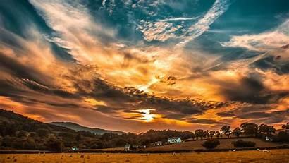4k Clouds Sunset Sky Field Horizon Trees