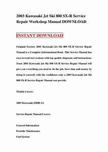 2003 Kawasaki Jet Ski 800 Sx R Service Repair Workshop Manual Download