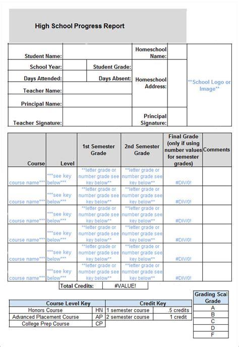 High School Progress Report Card Template
