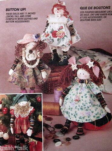 country primitive  rag doll pattern   button arm