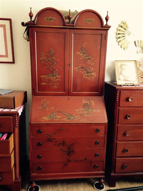 oriental secretary desk red lacquer  antique furniture