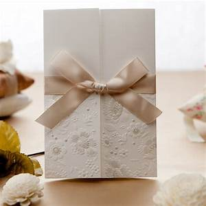 simple but elegant white engraved floral ribbon wedding With elegant wedding invitations with ribbons