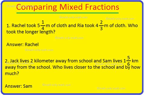 comparing mixed fractions comparing ordering mixed numbers