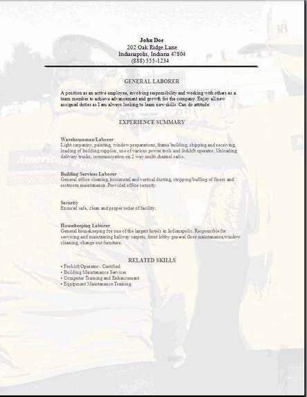 General Resume Sle by General Labor Resume3 Driver Sle Resume Format