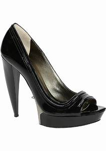 Lanvin Peep Toe Shoes In Black Patent Leather Italian