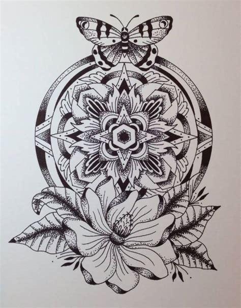 butterfly  mandala flower tattoo design