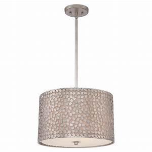Drum shade ceiling pendant light mosaic pattern on linen