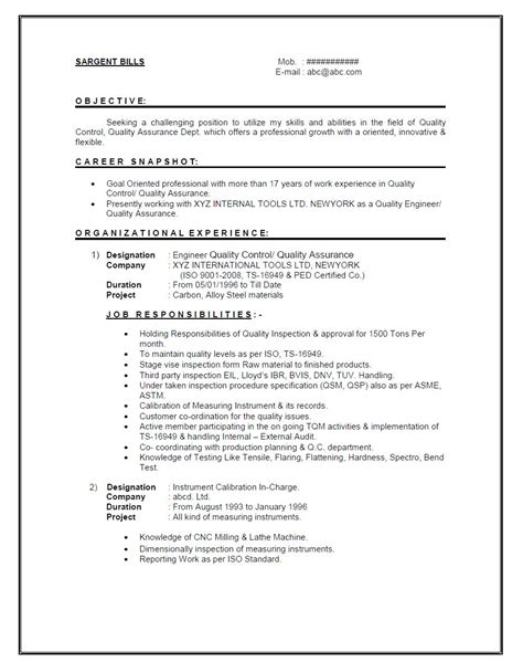 Mechanical Quality Experience Resume by Fresh And Free Resume Sles For Resume Format