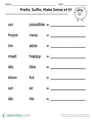 prefix suffix make sense of it worksheet education com