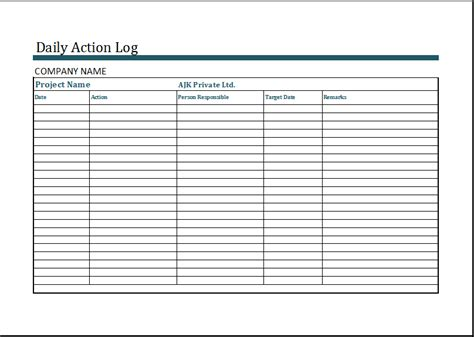 excel work log template ms excel daily action log template word excel templates