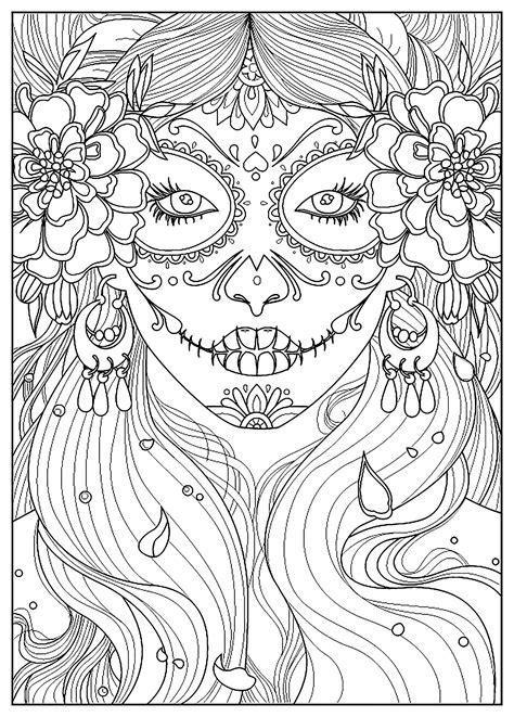 day   dead el  de los muertos adult coloring pages