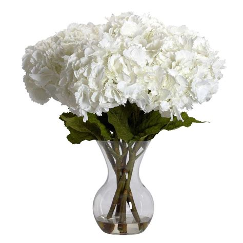 Cheap Outdoor Kitchen Ideas - nearly natural 23 in h white large hydrangea with vase silk flower arrangement 1260 the home