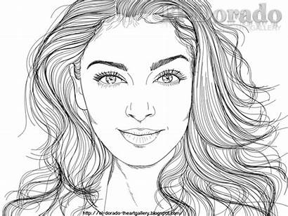 Pages Coloring Realistic Line Face Drawing Female