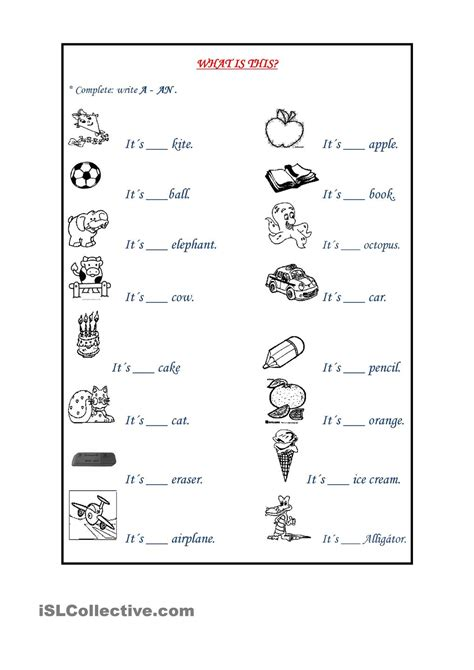 indefinite articles tefl 1st grade worksheets grammar