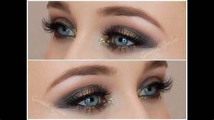 Black and Gold Glitter Smokey Eye Makeup Tutorial - YouTube