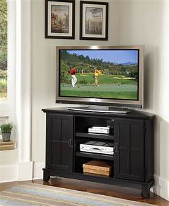 Home styles arts and crafts corner tv stand black finish for Corner home theater furniture