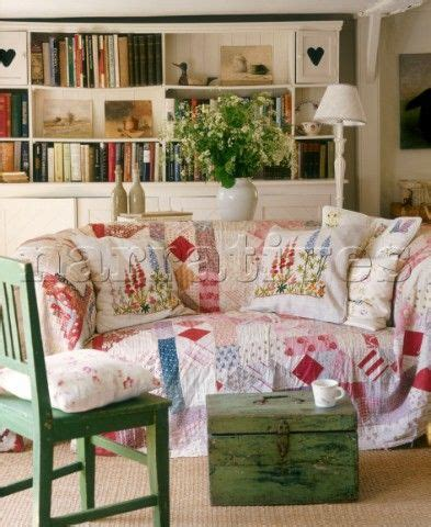 cottage charm living room love  quilt   sofa