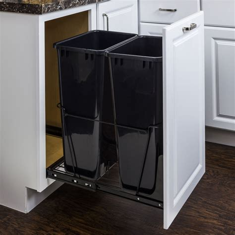 double garbage can cabinet double 50 quart trash can pullout all cabinet parts