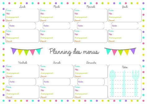 de recette de cuisine familiale planning repas de semaine à imprimer vierge menus de la