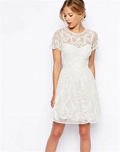 asos pretty gothic embellished skater dress in beige With wedding skater dress
