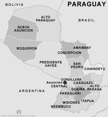 paraguay map black  white map  paraguay