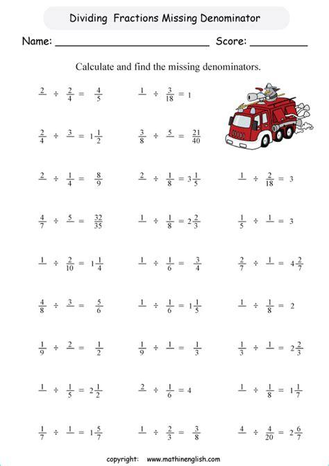 divide  find missing denominator printable grade  math